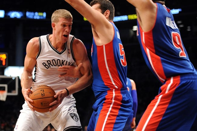 Oct 12, 2013; Brooklyn, NY, USA; Brooklyn Nets power forward Mason Plumlee (1) makes a move to the basket against the Detroit Pistons during the second half of the preseason game at Barclays Center. The Pistons won the game 99-88 Mandatory Credit: Joe Camporeale-USA TODAY Sports
