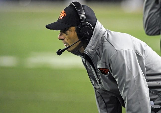 Oct 12, 2013; Pullman, WA, USA; Oregon State Beavers head coach Mike Riley looks on against the Washington State Cougars during the first half at Martin Stadium. Mandatory Credit: James Snook-USA TODAY Sports