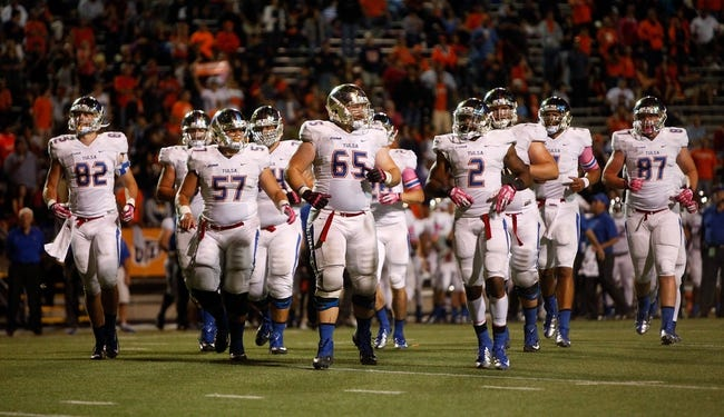 Oct 12, 2013; El Paso, TX, USA; The Tulsa Hurricane offense returns to the field after a timeout to face the UTEP Miners defense at Sun Bowl Stadium. Tulsa defeated UTEP 30-20. Mandatory Credit: Ivan Pierre Aguirre-USA TODAY Sports