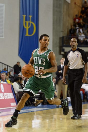 Oct 11, 2013; Newark, DE, USA; Boston Celtics guard Phil Pressey (26) during the fourth quarter against the Philadelphia 76ers at Bob Carpenter Sports Convocation Center. The Sixers defeated the Celtics 97-85. Mandatory Credit: Howard Smith-USA TODAY Sports