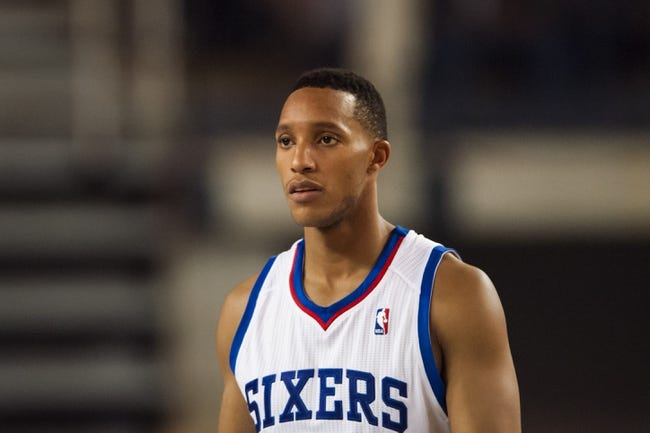 Oct 11, 2013; Newark, DE, USA; Philadelphia 76ers guard Evan Turner (12) during the fourth quarter against the Boston Celtics at Bob Carpenter Sports Convocation Center. The Sixers defeated the Celtics 97-85. Mandatory Credit: Howard Smith-USA TODAY Sports