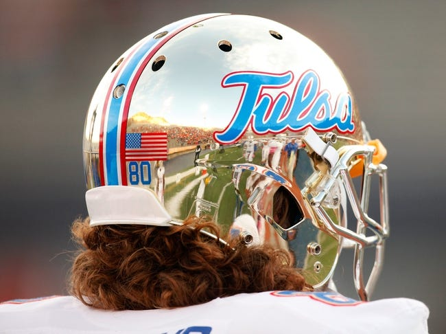 Oct 12, 2013; El Paso, TX, USA; A Tulsa Hurricane helmet reflects the Sun Bowl Stadium as they face the UTEP Miners. Tulsa defeated UTEP 30-20. Mandatory Credit: Ivan Pierre Aguirre-USA TODAY Sports
