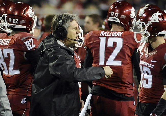 Oct 12, 2013; Pullman, WA, USA; Washington State Cougars head coach Mike Leach reacts after a call on the field against the Oregon State Beavers during the first half at Martin Stadium. The Beavers beat the Cougars 52-24. Mandatory Credit: James Snook-USA TODAY Sports