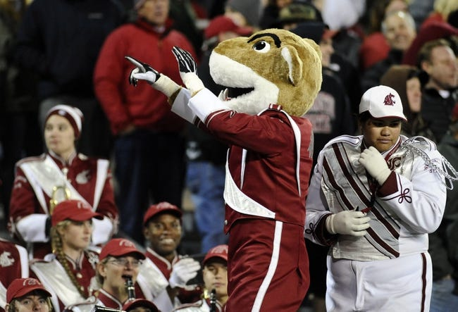 Oct 12, 2013; Pullman, WA, USA; Washington Sate Cougars mascot Butch performs with the band against the Oregon State Beavers during the second half at Martin Stadium. The Beavers beat the Cougars 52-24. Mandatory Credit: James Snook-USA TODAY Sports