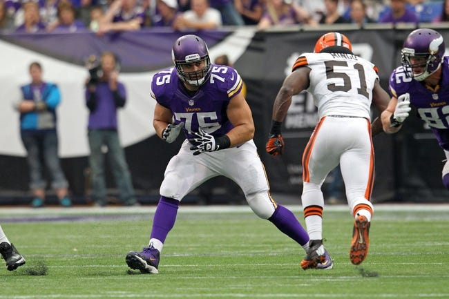 Sep 22, 2013; Minneapolis, MN, USA; Minnesota Vikings offensive tackle Matt Kalil (75) against the Cleveland Browns at Mall of America Field at H.H.H. Metrodome. The Browns defeated the Vikings 31-27. Mandatory Credit: Brace Hemmelgarn-USA TODAY Sports