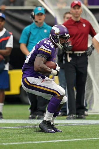 Sep 22, 2013; Minneapolis, MN, USA; Minnesota Vikings running back Adrian Peterson (28) against the Cleveland Browns at Mall of America Field at H.H.H. Metrodome. The Browns defeated the Vikings 31-27. Mandatory Credit: Brace Hemmelgarn-USA TODAY Sports