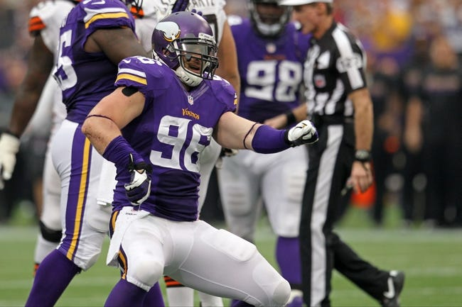 Sep 22, 2013; Minneapolis, MN, USA; Minnesota Vikings defensive end Brian Robison (96) against the Cleveland Browns at Mall of America Field at H.H.H. Metrodome. The Browns defeated the Vikings 31-27. Mandatory Credit: Brace Hemmelgarn-USA TODAY Sports