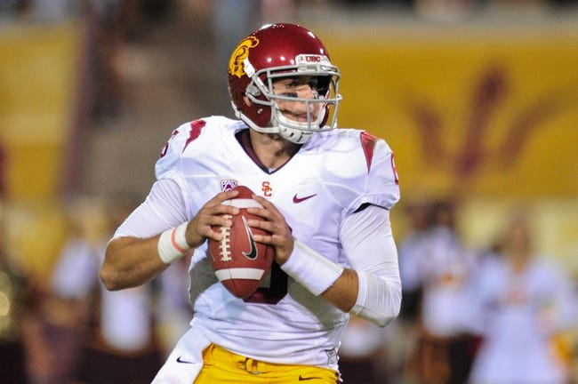 Sep 28, 2013; Tempe, AZ, USA; USC Trojans quarterback Cody Kessler (6) during the game against the Arizona State Sun Devils at Sun Devil Stadium. Mandatory Credit: Matt Kartozian-USA TODAY Sports