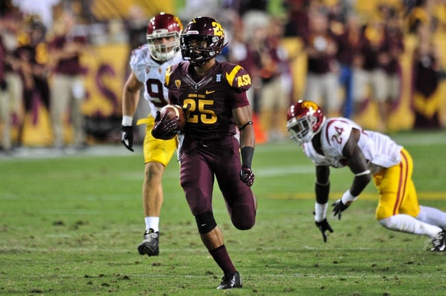 Sep 28, 2013; Tempe, AZ, USA; Arizona State Sun Devils running back Deantre Lewis (25) during the game against the USC Trojans at Sun Devil Stadium. Mandatory Credit: Matt Kartozian-USA TODAY Sports