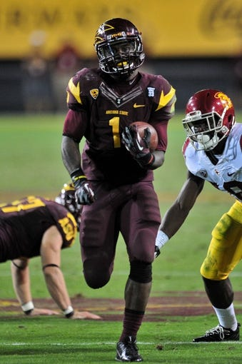 Sep 28, 2013; Tempe, AZ, USA; Arizona State Sun Devils running back Marion Grice (1) during the game against the USC Trojans at Sun Devil Stadium. Mandatory Credit: Matt Kartozian-USA TODAY Sports