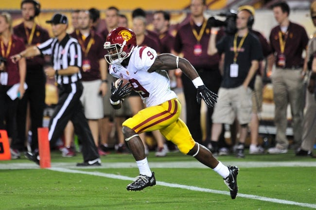 Sep 28, 2013; Tempe, AZ, USA; USC Trojans wide receiver Marqise Lee (9) during the game against the Arizona State Sun Devils at Sun Devil Stadium. Mandatory Credit: Matt Kartozian-USA TODAY Sports
