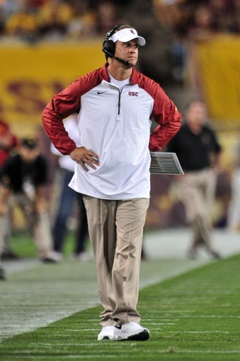 Sep 28, 2013; Tempe, AZ, USA; USC Trojans head coach Lane Kiffin during the game against the Arizona State Sun Devils at Sun Devil Stadium. Mandatory Credit: Matt Kartozian-USA TODAY Sports