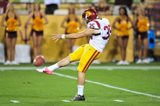 Sep 28, 2013; Tempe, AZ, USA; USC Trojans punter Kris Albarado (35) during the game against the Arizona State Sun Devils at Sun Devil Stadium. Mandatory Credit: Matt Kartozian-USA TODAY Sports