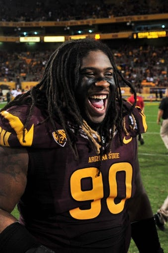 Sep 28, 2013; Tempe, AZ, USA; Arizona State Sun Devils defensive tackle Will Sutton (90) during the game against the USC Trojans at Sun Devil Stadium. Mandatory Credit: Matt Kartozian-USA TODAY Sports