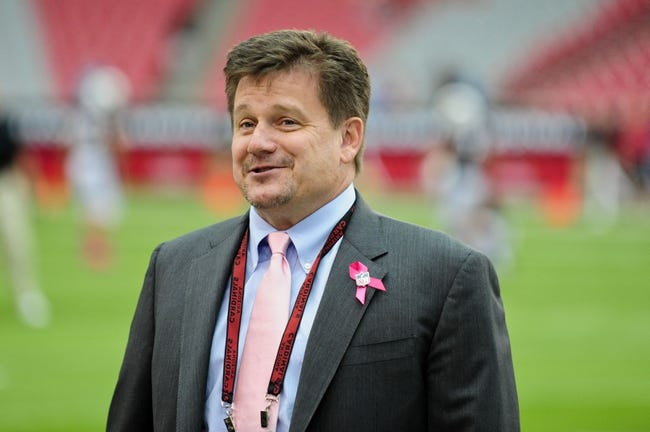 Sep 28, 2013; Tempe, AZ, USA; Arizona Cardinals president Michael Bidwill during the game against the Carolina Panthers at Sun Devil Stadium. Mandatory Credit: Matt Kartozian-USA TODAY Sports