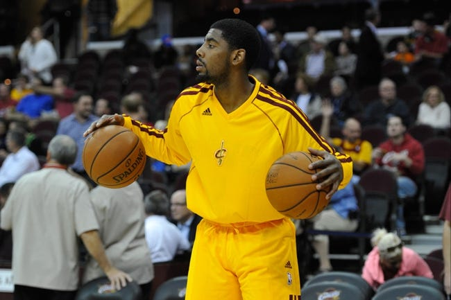 Oct 8, 2013; Cleveland, OH, USA; Cleveland Cavaliers point guard Kyrie Irving prior to a game against the Milwaukee Bucks at Quicken Loans Arena. Cleveland won 99-87. Mandatory Credit: David Richard-USA TODAY Sports