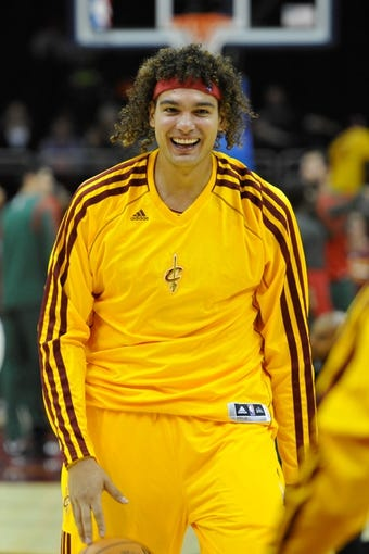 Oct 8, 2013; Cleveland, OH, USA; Cleveland Cavaliers power forward Anderson Varejao prior to a game against the Milwaukee Bucks at Quicken Loans Arena. Cleveland won 99-87. Mandatory Credit: David Richard-USA TODAY Sports