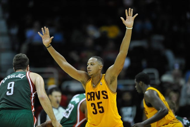 Oct 8, 2013; Cleveland Cavaliers power forward Kenny Kadji (35) during a game against the Milwaukee Bucks at Quicken Loans Arena. Cleveland won 99-87. Mandatory Credit: David Richard-USA TODAY Sports