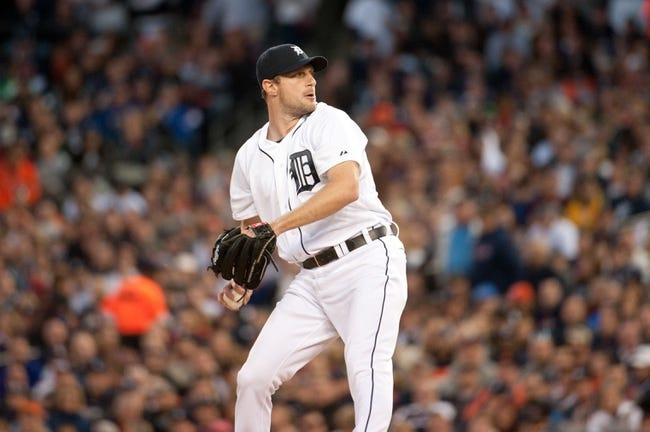 Oct 8, 2013; Detroit, MI, USA; Detroit Tigers starting pitcher Max Scherzer (37) throws a pitch against the Oakland Athletics in game four of the American League divisional series at Comerica Park. Mandatory Credit: Tim Fuller-USA TODAY Sports