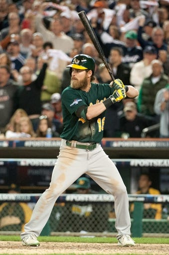 Oct 8, 2013; Detroit, MI, USA; Oakland Athletics right fielder Josh Reddick (16) bats in game four of the American League divisional series against the Detroit Tigers at Comerica Park. Mandatory Credit: Tim Fuller-USA TODAY Sports