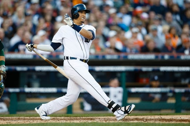 Oct 8, 2013; Detroit, MI, USA; Detroit Tigers designated hitter Victor Martinez (41) at bat against the Oakland Athletics in game four of the American League divisional series at Comerica Park. Mandatory Credit: Rick Osentoski-USA TODAY Sports