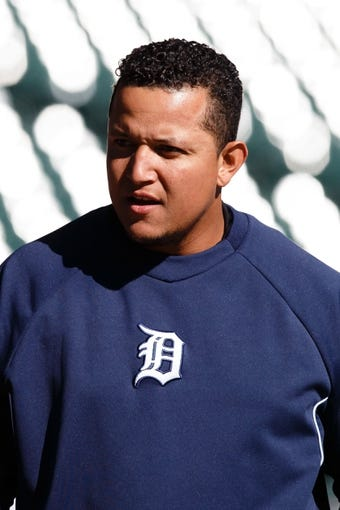 Oct 8, 2013; Detroit, MI, USA; Detroit Tigers third baseman Miguel Cabrera (24) during batting practice before game four of the American League divisional series against the Oakland Athletics at Comerica Park. Mandatory Credit: Rick Osentoski-USA TODAY Sports
