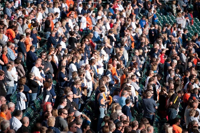 Oct 8, 2013; Detroit, MI, USA; Fans before game four of the American League divisional series between the Detroit Tigers and the Oakland Athletics at Comerica Park. Mandatory Credit: Tim Fuller-USA TODAY Sports