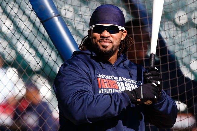 Oct 8, 2013; Detroit, MI, USA; Detroit Tigers first baseman Prince Fielder (28) during batting practice before game four of the American League divisional series against the Oakland Athletics at Comerica Park. Mandatory Credit: Rick Osentoski-USA TODAY Sports