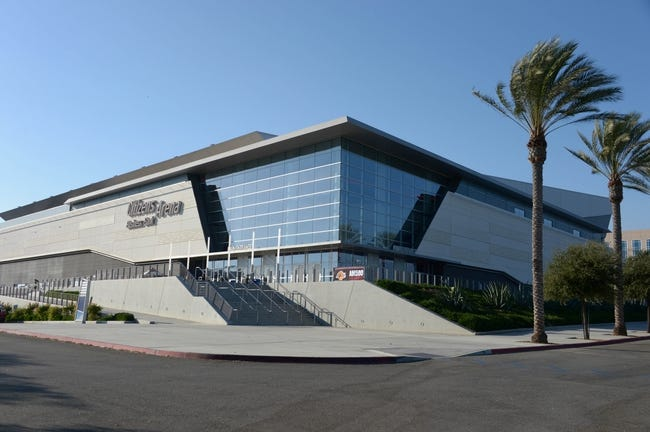 Oct 8, 2013; Ontario, CA, USA; General view of the Citizens Business Bank Arena exterior before the NBA preseason game between the Denver Nuggets and the Los Angeles Lakers. Mandatory Credit: Kirby Lee-USA TODAY Sports