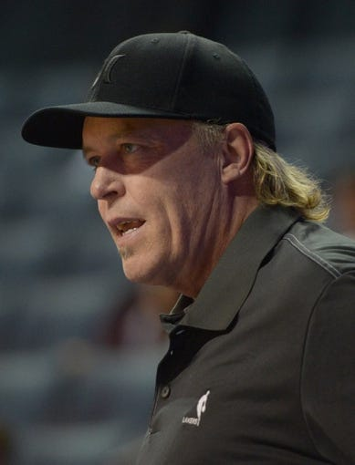 Oct 8, 2013; Ontario, CA, USA; Los Angeles Lakers executive vice president of player personnel Jim Buss attends the game against the Denver Nuggets at Citizens Business Bank Arena. The Lakers defeated the Nuggets 90-88. Mandatory Credit: Kirby Lee-USA TODAY Sports