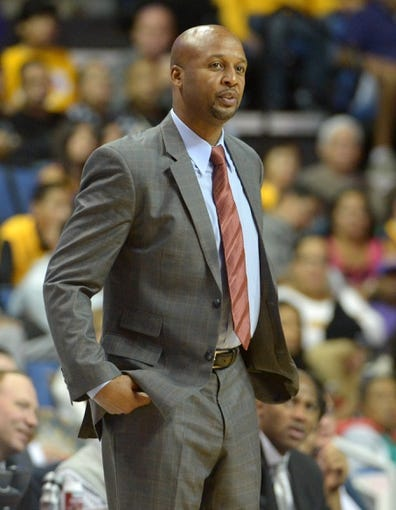 Oct 8, 2013; Ontario, CA, USA; Denver Nuggets coach Brian Shaw reacts during the game against the Los Angeles Lakers at Citizens Business Bank Arena. The Lakers defeated the Nuggets90-88. Mandatory Credit: Kirby Lee-USA TODAY Sports