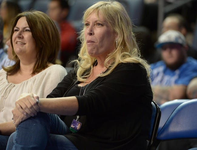 Oct 8, 2013; Ontario, CA, USA; Janie Buss-Drexel attends the NBA game between the Denver Nuggets and the Los Angeles Lakers at Citizens Business Bank Arena. Mandatory Credit: Kirby Lee-USA TODAY Sports