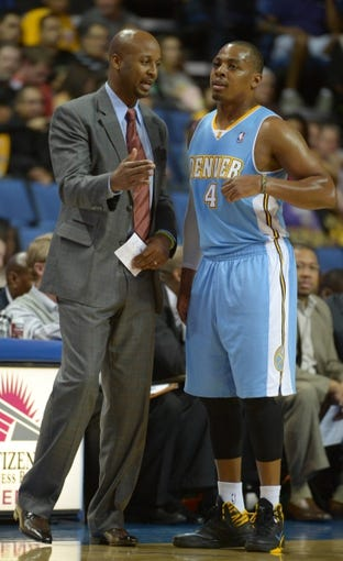 Oct 8, 2013; Ontario, CA, USA; Denver Nuggets coach Brian Shaw (left) and guard Randy Foye (4) during the game against the Los Angeles Lakers at Citizens Business Bank Arena. The Lakers defeated the Nuggets 90-88. Mandatory Credit: Kirby Lee-USA TODAY Sports