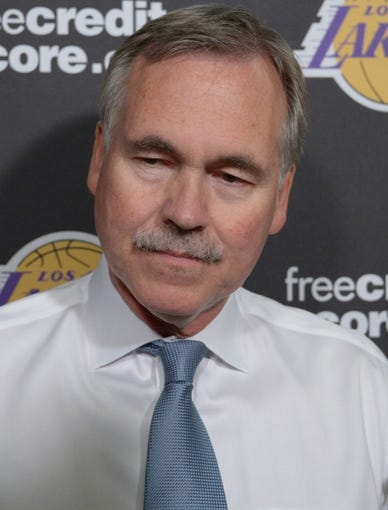 Oct 8, 2013; Ontario, CA, USA; Los Angeles Lakers coach Mike D'Antoni before the preseason game against the Denver Nuggets at Citizens Business Bank Arena. Mandatory Credit: Kirby Lee-USA TODAY Sports