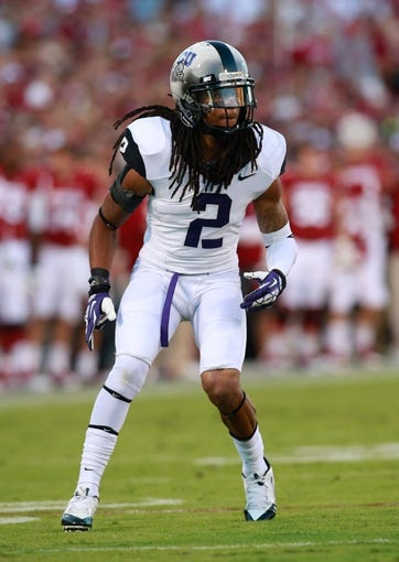 Oct 5, 2013; Norman, OK, USA; TCU Horned Frogs cornerback Jason Verrett (2) in game action against the Oklahoma Sooners at Gaylord Family - Oklahoma Memorial Stadium. The Oklahoma Sooners beat the TCU Horned Frogs 20-17. Mandatory Credit: Tim Heitman-USA TODAY Sports