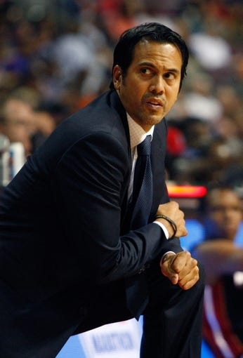 Oct 10, 2013; Auburn Hills, MI, USA; Miami Heat head coach Erik Spoelstra during the first quarter against the Detroit Pistons at The Palace of Auburn Hills. Mandatory Credit: Raj Mehta-USA TODAY Sports