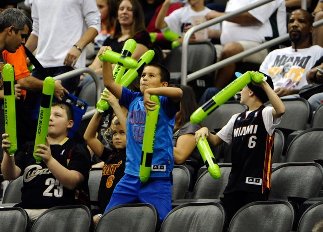 Oct 11, 2013; Kansas City, MO, USA; Fans cheer before the game between the Miami Heat and Charlotte Bobcats at Sprint Center. Miami won 86-75. Mandatory Credit: John Rieger-USA TODAY Sports