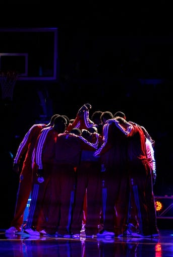 Oct 10, 2013; Auburn Hills, MI, USA; Detroit Pistons huddle before the game against the Miami Heat at The Palace of Auburn Hills. Mandatory Credit: Raj Mehta-USA TODAY Sports