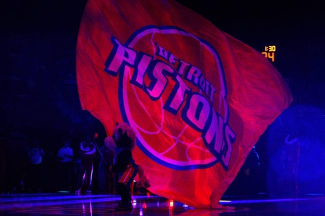 Oct 10, 2013; Auburn Hills, MI, USA; Detroit Pistons mascot Hooper waves the pistons flag before the game against the Miami Heat at The Palace of Auburn Hills. Mandatory Credit: Raj Mehta-USA TODAY Sports