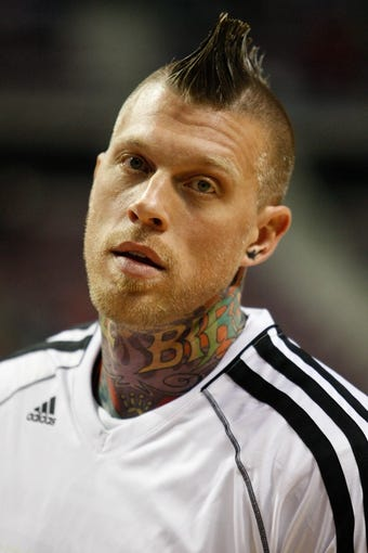 Oct 10, 2013; Auburn Hills, MI, USA; Miami Heat power forward Chris Andersen (11) before the game against the Detroit Pistons at The Palace of Auburn Hills. Mandatory Credit: Raj Mehta-USA TODAY Sports