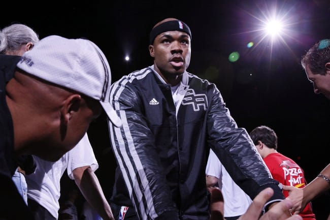 Oct 13, 2013; San Antonio, TX, USA; San Antonio Spurs forward Corey Maggette (14) is introduced prior to a preseason game against the Phoenix Suns at AT&T Center. Mandatory Credit: Soobum Im-USA TODAY Sports