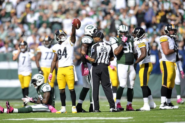 Oct 13, 2013; East Rutherford, NJ, USA; Pittsburgh Steelers wide receiver Antonio Brown (84) celebrates a first down against the New York Jets during the first half at MetLife Stadium. The Steelers won the game 19-6. Mandatory Credit: Joe Camporeale-USA TODAY Sports