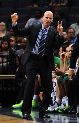 Oct 13, 2013; Memphis, TN, USA; Haifa head coach Danny Franco calls a play during the second quarter at FedExForum. Mandatory Credit: Justin Ford-USA TODAY Sports