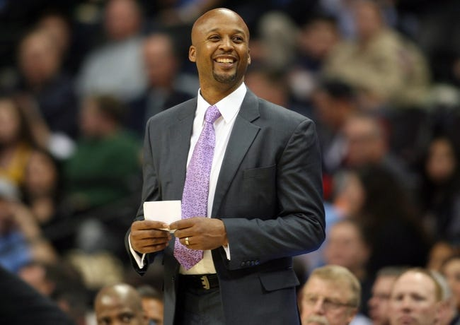 Oct 14, 2013; Denver, CO, USA; Denver Nuggets head coach Brian Shaw during the second half against the San Antonio Spurs at Pepsi Center. The Nuggets won 98-94. Mandatory Credit: Chris Humphreys-USA TODAY Sports