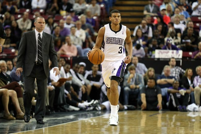 Oct 14, 2013; Sacramento, CA, USA; Sacramento Kings point guard Ray McCallum (3) controls the ball against the Los Angeles Clippers during the fourth quarter at Sleep Train Arena. The Sacramento Kings defeated the Los Angeles Clippers 99-88. Mandatory Credit: Kelley L Cox-USA TODAY Sports