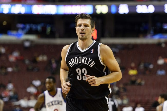 Oct 14, 2013; Philadelphia, PA, USA; Brooklyn Nets forward Mirza Teletovic (33) during the third quarter against the Philadelphia 76ers at Wells Fargo Center. The Nets defeated the Sixers 127-97. Mandatory Credit: Howard Smith-USA TODAY Sports