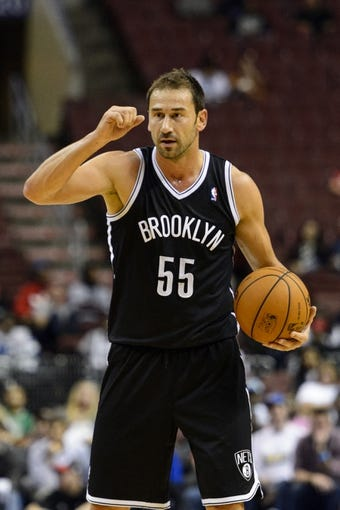 Oct 14, 2013; Philadelphia, PA, USA; Brooklyn Nets guard Marko Jaric (55) during the fourth quarter against the Philadelphia 76ers at Wells Fargo Center. The Nets defeated the Sixers 127-97. Mandatory Credit: Howard Smith-USA TODAY Sports