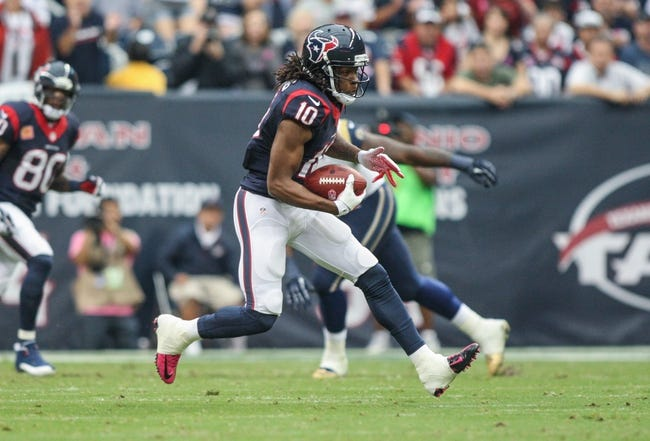 Oct 13, 2013; Houston, TX, USA; Houston Texans wide receiver DeAndre Hopkins (10) makes a reception during the first quarter against the St. Louis Rams at Reliant Stadium. Mandatory Credit: Troy Taormina-USA TODAY Sports