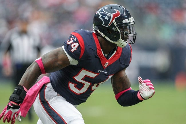 Oct 13, 2013; Houston, TX, USA; Houston Texans linebacker Willie Jefferson (54) rushes during the fourth quarter against the St. Louis Rams at Reliant Stadium. Mandatory Credit: Troy Taormina-USA TODAY Sports
