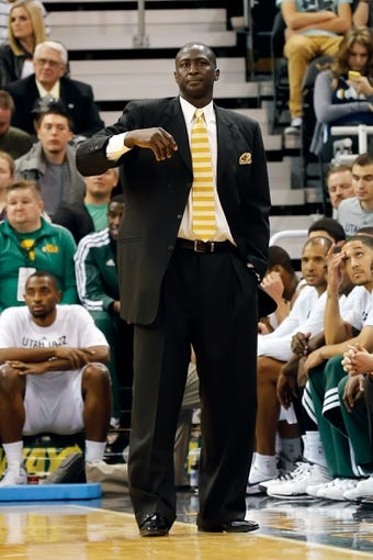 Oct 12, 2013; Salt Lake City, UT, USA; Utah Jazz head coach Tyrone Corbin during the third quarter at EnergySolutions Arena. The Los Angeles Clippers won 106-74.  Mandatory Credit: Chris Nicoll-USA TODAY Sports